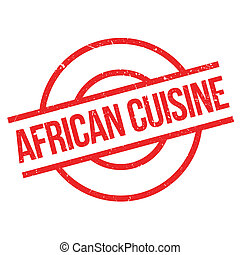 African Cuisine rubber stamp. Grunge design with dust...