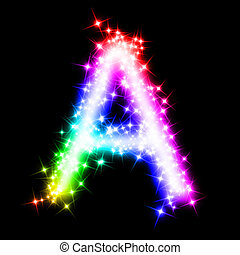 colorful alphabet letter - A - 3d rendered illustration of a...