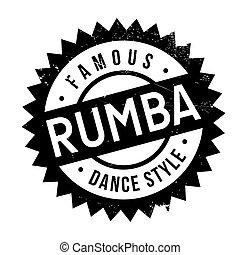 Famous dance style, Rumba stamp. Grunge design with dust...