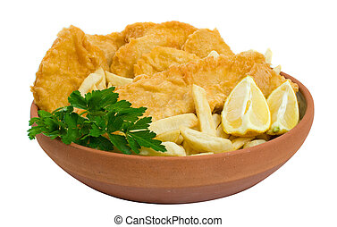 Fish, chips and potato cakes over white