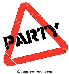 Party rubber stamp. Grunge design with dust scratches....