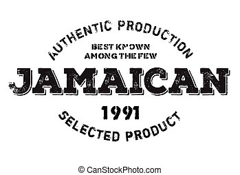 Authentic jamaican product stamp. Grunge design with dust...