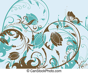 Flower design - Flower with butterfly, element for design,...