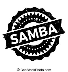 Famous dance style, samba stamp. Grunge design with dust...