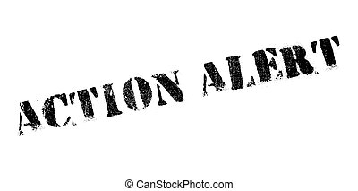 Action alert rubber stamp. Grunge design with dust...