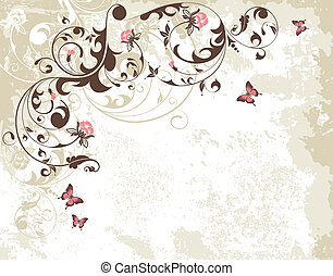 Floral frame - Grunge floral frame with butterfly, element...