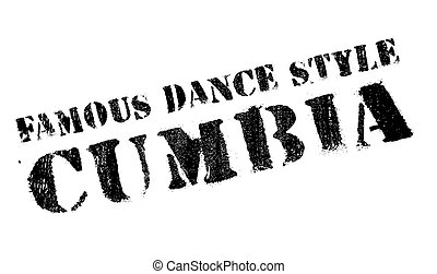 Famous dance style, Cumbia stamp. Grunge design with dust...