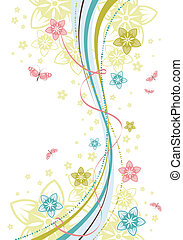 Flower background with wave pattern, element for design,...