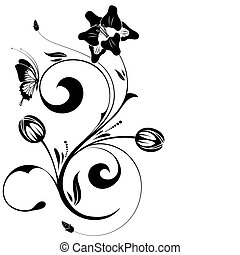 Floral design - Floral ornament with butterfly, element for...