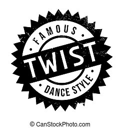 Famous dance style, Twist stamp. Grunge design with dust...