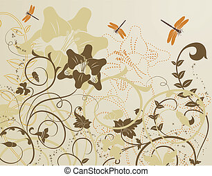Floral background - Grunge floral background with dragonfly,...