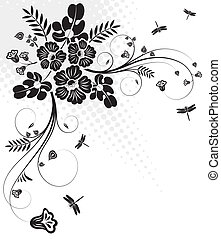 Floral design - Floral ornament with dragonfly, element for...