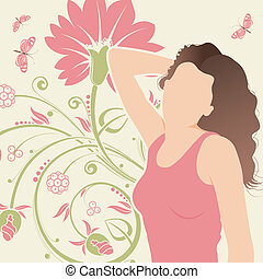 Floral background with girl and butterly, element for...