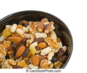 Fruit and Nut Mix - Fruit and Nut mix in black serving bowl...