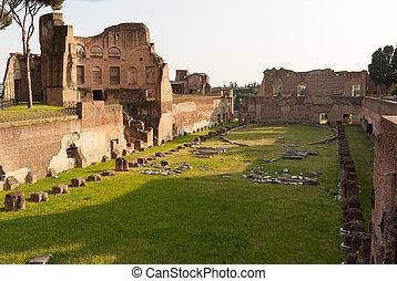 Ancient Roman ruins at Palatine Hill, Rome, Italy - Ancient...