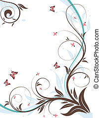 Floral background with wave pattern and butterfly, element...