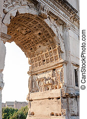Details from the Arch of Titus on the Via Sacra, Rome, Italy,