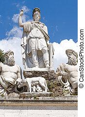 Fountain Piazza del Popolo, Rome, Italy - fountain at the...