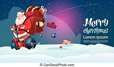 Santa Claus Ride Electric Scooter Christmas Holiday Happy...