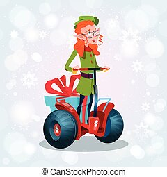 Green Elf Ride Electric Scooter Christmas Holiday Happy New...