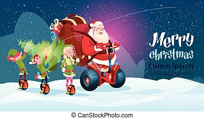 Santa Claus Elf Ride Electric Scooter Christmas Holiday...