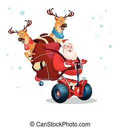 Santa Claus Deer Ride Electric Scooter Christmas Holiday Happy New Year Greeting Card