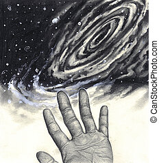 Universe, hand, reaching for the stars - A black and white...