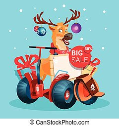 Reindeer Ride Electric Scooter Christmas Holiday Shopping Sale Banner Happy New Year
