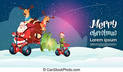 Santa Claus Elf Deer Ride Electric Scooter Christmas Holiday Happy New Year Greeting Card