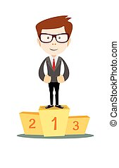 Businessman proudly standing on the winning podium - A...