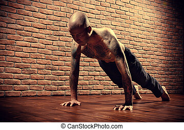 handstand pose - An experienced yoga instructor showing...