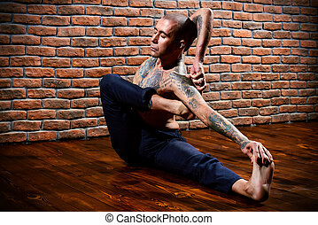 exercises on yoga - Various difficult yoga poses. Yoga...