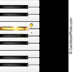 black and golden keys - black background with abstract...