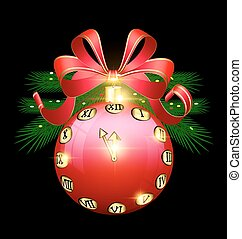 Christmas red ball and clock - black background with the...