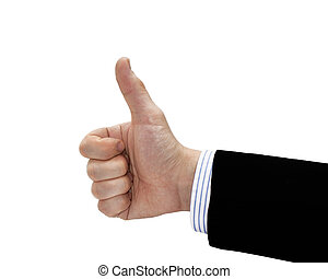 Businessman hand showing okey sign. Isolated on white...