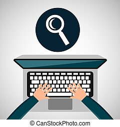 person working laptop search social media graphic
