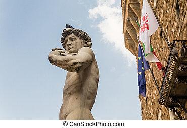 David and Palazzo Vecchio. Piazza della Signoria. Florence....
