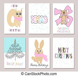 Merry Christmas greeting card set with cute squirrel, bear, tree, rabbit and other elements. Cute Hand drawn holiday cards and invitations.