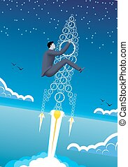 Power of time business concept. Confident businessman in...