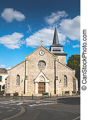 Facade of the church of Commequiers, France - Facade of the...