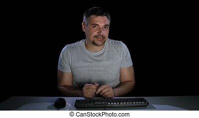 Man shyness rewritten woman chatting online. Emotions....