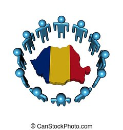 people around Romania map flag - Circle of abstract people...