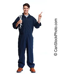 Car mechanic with wrench - car mechanic with wrench isolated...
