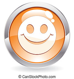 Gloss Button with smile - Three Dimensional circle button...