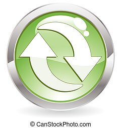 Gloss Button with Recycling Symbol - Three Dimensional...