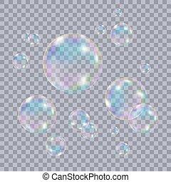 Set of realistic transparent colorful soap  bubbles.