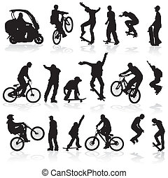 Silhouettes - Extreme silhouettes man on roller, bicycle,...