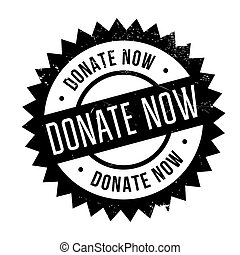 Donate now stamp. Grunge design with dust scratches. Effects...