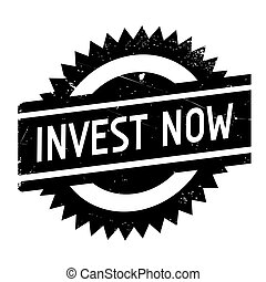 Invest now stamp. Grunge design with dust scratches. Effects...