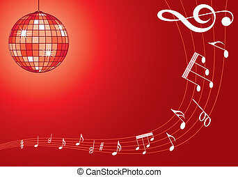 Music background with discoball and note pattern, element...